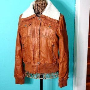 Flawed bomber jacket brown faux leather cream coat